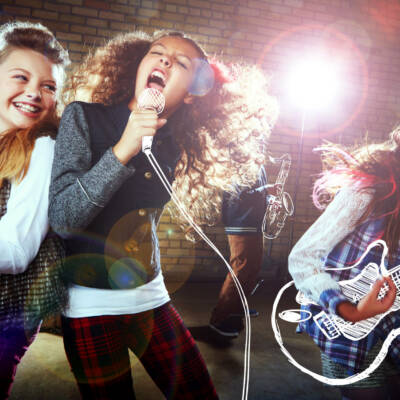 Shot of children singing and playing rock music on imaginary instrumentshttp://195.154.178.81/DATA/i_collage/pu/shoots/805965.jpg