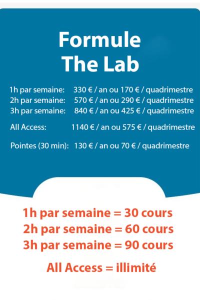 tarif template The Lab